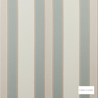 Clarke & Clarke - Regatta Duckegg  | Curtain & Upholstery fabric - Green, Stripe, Traditional, Natural, Natural Fibre
