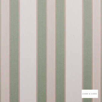 Clarke & Clarke - Regatta Sage  | Curtain & Upholstery fabric - Green, Stripe, Traditional, Natural, Natural Fibre