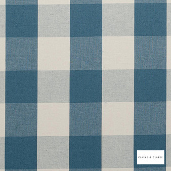 Clarke & Clarke - Sherbourne Chambray  | Curtain & Upholstery fabric - Linen/Linen Look, Blue, Traditional, Check, Gingham, Natural, Pattern