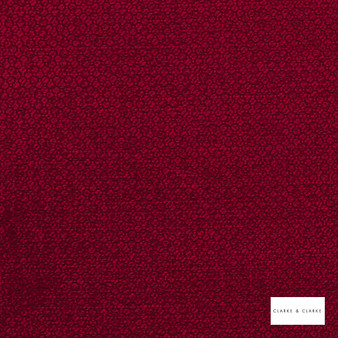 Clarke & Clarke - Stella Garnet  | Curtain & Upholstery fabric - Red, Geometric, Ogee, Plain, Pattern, Small Scale