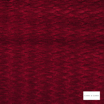 Clarke & Clarke - Tempo Claret  | Upholstery Fabric - Red, Contemporary, Geometric, Velvets, Pattern