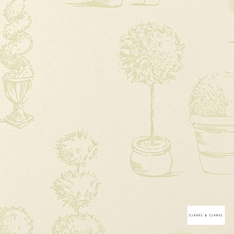 Clarke & Clarke - Topiary Wp Sage  | Wallpaper, Wallcovering - Green, Floral, Garden, Botantical, Wide-Width, Figurative, Print, Paper Based