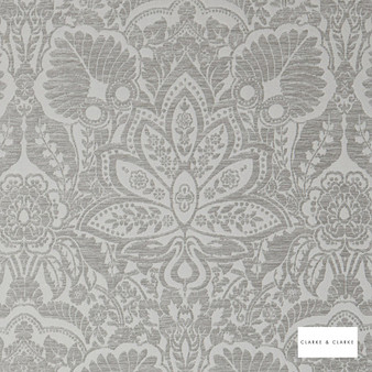 Clarke & Clarke - Waldorf Silver  | Curtain & Upholstery fabric - Grey, Paisley, Traditional, Art Nouveau, Damask