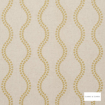 Clarke & Clarke - Woburn Acacia  | Curtain Fabric - Gold, Yellow, Geometric, Embroidery, Ogee, Pattern, Fibre Blend
