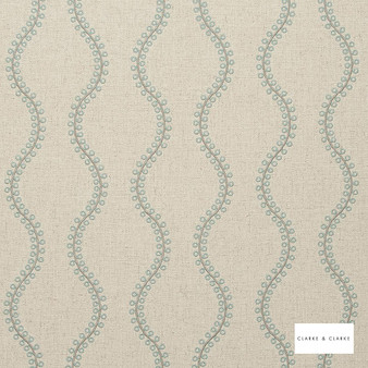 Clarke & Clarke - Woburn Duckegg  | Curtain Fabric - Green, Geometric, Embroidery, Ogee, Pattern, Fibre Blend