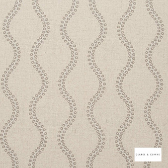 Clarke & Clarke - Woburn Taupe  | Curtain Fabric - Beige, Geometric, Embroidery, Ogee, Pattern, Fibre Blend
