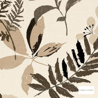 Clarke & Clarke - Woodland Charcoal  | Curtain & Upholstery fabric - Linen/Linen Look, Beige, Black, Charcoal, Contemporary, Natural, Print