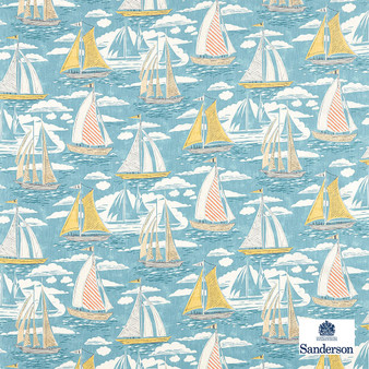 Sanderson Sailor - 226502  | Curtain & Upholstery fabric - Blue, Cushion, Natural, Nautical, Natural Fibre, Standard Width