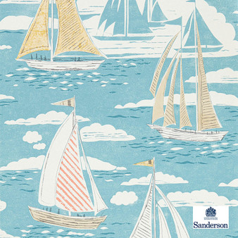Sanderson Sailor - 216571  | Wallpaper, Wallcovering - Blue, Nautical