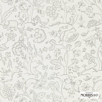 Morris & Co Middlemore - 216693  | Wallpaper, Wallcovering - Whites, Animals, Fauna, Birds, Dogs, Elephants, Dogs