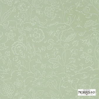 Morris & Co Middlemore - 216694  | Wallpaper, Wallcovering - Green, Animals, Fauna, Birds, Dogs, Elephants, Dogs
