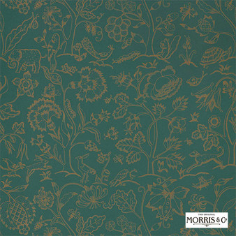 Morris & Co Middlemore - 216695  | Wallpaper, Wallcovering - Green, Animals, Fauna, Birds, Dogs, Elephants, Dogs