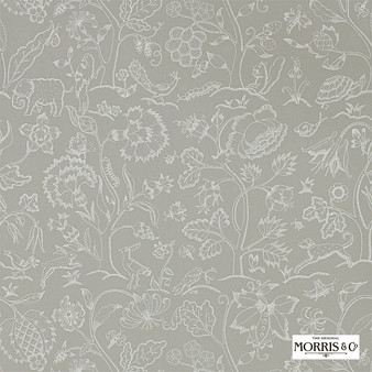 Morris & Co Middlemore - 216697  | Wallpaper, Wallcovering - Grey, Animals, Fauna, Birds, Dogs, Elephants, Dogs