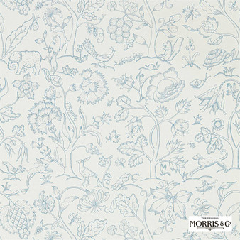 Morris & Co Middlemore - 216698  | Wallpaper, Wallcovering - Blue, Animals, Fauna, Birds, Dogs, Elephants, Dogs