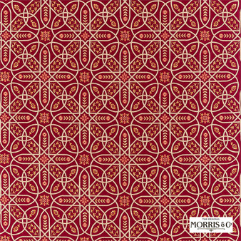 Morris & Co Brophy Embroidery - 236814  | Curtain Fabric - Red, Floral, Garden, Botantical, Cushion, Fibre Blend, Standard Width