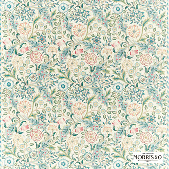 Morris & Co Wilhelmina - 226603  | Curtain & Upholstery fabric - Blue, Floral, Garden, Botantical, Cushion, Craftsman, Natural, Natural Fibre