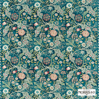 Morris & Co Wilhelmina - 226604  | Curtain & Upholstery fabric - Green, Floral, Garden, Botantical, Cushion, Craftsman, Natural, Natural Fibre