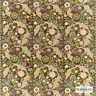 Morris & Co Wilhelmina - 226605  | Curtain & Upholstery fabric - Brown, Floral, Garden, Botantical, Cushion, Craftsman, Natural, Natural Fibre