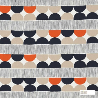 Scion Octant 120483  | Curtain Fabric - Fire Retardant, Orange, Stripe, Eclectic, Geometric, Circles, Natural, Natural Fibre, Standard Width