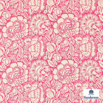 Sanderson Poppy Damask - 225344    Curtain & Upholstery fabric - Pink, Purple, Contemporary, Floral, Garden, Botantical, Cushion, Natural