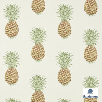 Sanderson Pineapple Royale - 226300  | Curtain & Upholstery fabric - Green, Cushion, Kitchen, Tropical, Print, Fibre Blend, Standard Width