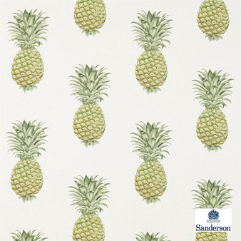 Sanderson Pineapple Royale - 226301  | Curtain & Upholstery fabric - Green, Cushion, Kitchen, Tropical, Print, Fibre Blend, Standard Width