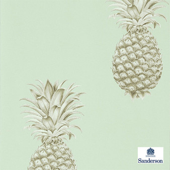 Sanderson Pineapple Royale - 216325  | Wallpaper, Wallcovering - Green, Kitchen, Tropical, Print
