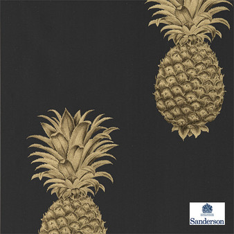 Sanderson Pineapple Royale - 216326  | Wallpaper, Wallcovering - Black, Charcoal, Kitchen, Tropical, Print