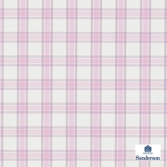 Sanderson Brighton - 234118  | Upholstery Fabric - Pink, Purple, Traditional, Cushion, Check, Natural, Plaid, Pattern, Natural Fibre, Standard Width