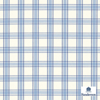 Sanderson Brighton - 234119  | Upholstery Fabric - Washable, Blue, Traditional, Cushion, Check, Natural, Plaid, Pattern, Natural Fibre, Standard Width