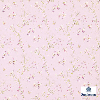 Sanderson Fairyland - 223920  | Curtain & Upholstery fabric - Pink, Purple, Children, Floral, Garden, Botantical, Kids, Cushion, Natural, Figurative