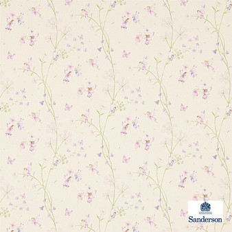 Sanderson Fairyland - 223922  | Curtain & Upholstery fabric - Pink, Purple, Children, Floral, Garden, Botantical, Kids, Cushion, Natural, Figurative