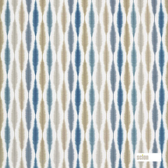 Scion Usuko - 120752  | Upholstery Fabric - Blue, Ikat, Cushion, Natural, Natural Fibre, Standard Width