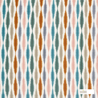 Scion Usuko - 120756  | Curtain & Upholstery fabric - Green, Pink, Purple, Ikat, Cushion, Natural, Natural Fibre, Standard Width