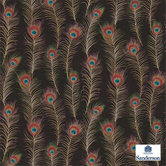 Sanderson Themis 213062  | Wallpaper, Wallcovering - Fire Retardant, Red, Eclectic, Animals, Fauna, Art Nouveau, Craftsman, Feathers