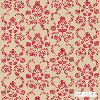 Harlequin Lucerne - 130338  | Curtain Fabric - Red, Floral, Garden, Botantical, Cushion, Fibre Blend, Standard Width