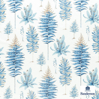 Sanderson Fernery - 226580  | Curtain & Upholstery fabric - Blue, Floral, Garden, Botantical, Cushion, Natural, Natural Fibre, Standard Width