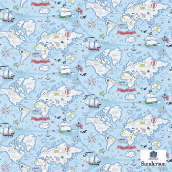 Sanderson Treasure Map 214038  | Wallpaper, Wallcovering - Fire Retardant, Blue, Maps, Nautical, Figurative