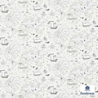 Sanderson Treasure Map 214039  | Wallpaper, Wallcovering - Fire Retardant, Grey, Maps, Nautical, Figurative