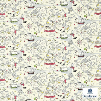 Sanderson Treasure Map 223913  | Upholstery Fabric - Green, Red, Maps, Natural, Nautical, Figurative, Natural Fibre, Standard Width