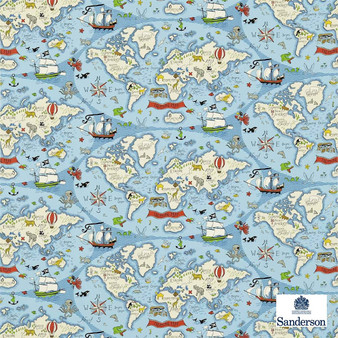 Sanderson Treasure Map 223914  | Upholstery Fabric - Blue, Maps, Natural, Nautical, Figurative, Natural Fibre, Standard Width