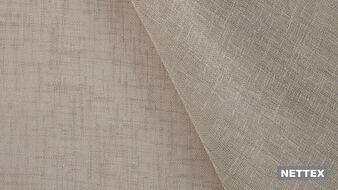 Nettex Bali VT524 - Taupe 330  | Curtain Sheer Fabric - Fire Retardant, Linen/Linen Look, Beige, Wide-Width, Plain