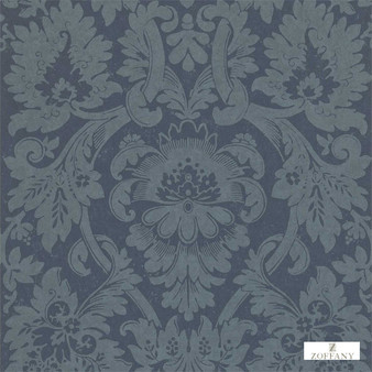 Zoffany Versailles ZCDW04010  | Wallpaper, Wallcovering - Fire Retardant, Blue, Traditional, Craftsman, Damask