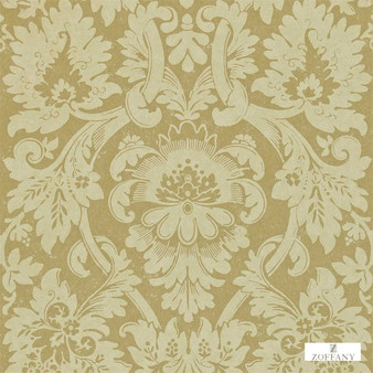 Zoffany Versailles ZCDW04012  | Wallpaper, Wallcovering - Fire Retardant, Gold, Yellow, Traditional, Craftsman, Damask