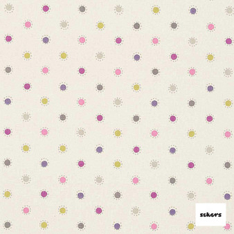 Sekers Agra 140cm - Mulberry  | Curtain Fabric - Green, Pink, Purple, Contemporary, Uncoated, Circles, Dots, Spots, Natural, Pattern, Natural Fibre