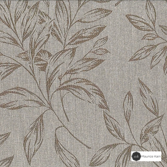 Maurice Kain Baroda 137cm - Ash  | Curtain Fabric - Beige, Black, Charcoal, Tan, Taupe, Floral, Garden, Botantical, Uncoated, Pattern, Fibre Blend
