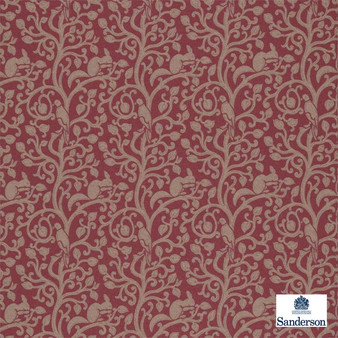 Sanderson Squirrel & Dove Wool 233267  | Upholstery Fabric - Burgundy, Floral, Garden, Botantical, Animals, Fauna, Birds, Craftsman, Fibre Blend
