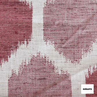 Sekers Chiba 137cm - Clay  | Curtain Fabric - Red, Ikat, Mediterranean, Uncoated, Geometric, Honeycomb, Fibre Blend, Standard Width