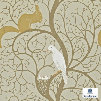 Sanderson Squirrel & Dove DVIWSQ101  | Wallpaper, Wallcovering - Fire Retardant, Brown, Gold, Yellow, Eclectic, Animals, Fauna, Birds, Craftsman