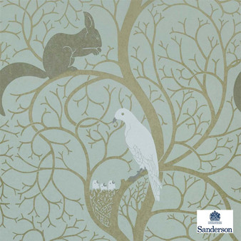 Sanderson Squirrel & Dove DVIWSQ103  | Wallpaper, Wallcovering - Fire Retardant, Green, Eclectic, Animals, Fauna, Birds, Craftsman